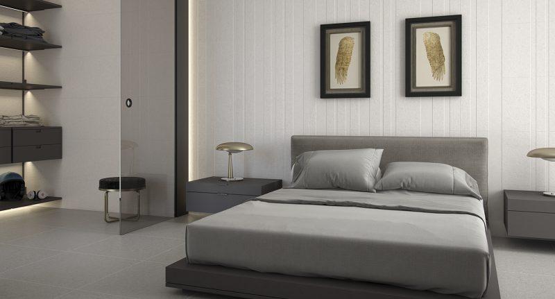 Vestidor y Dormitorios separados por un cerramiento de cristal.