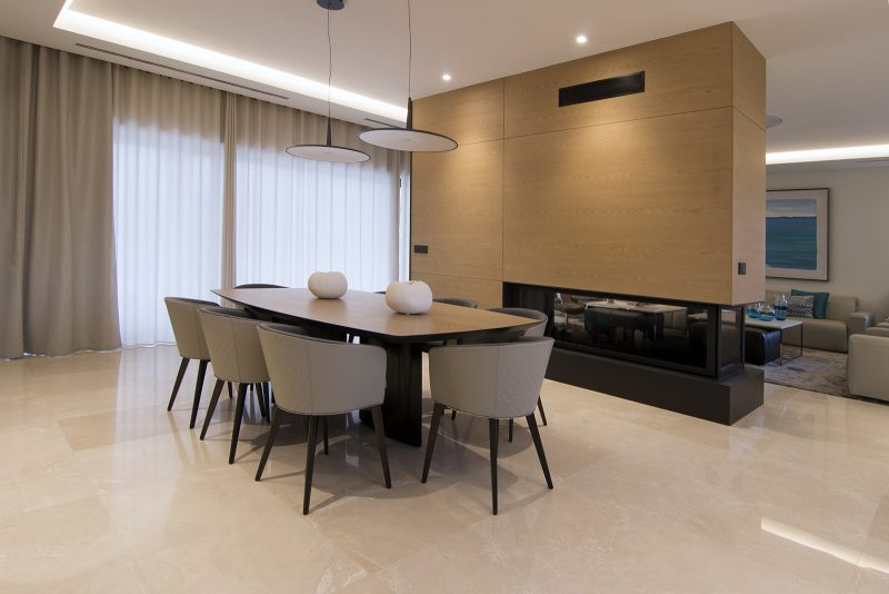 Diseño Salon comedor chimenea